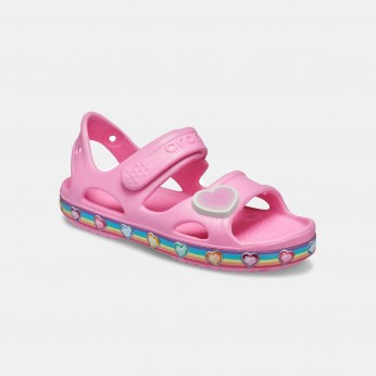 Crocs Fun Lab Rainbow Sandal K - סנדל ורוד בהדפס לבבות